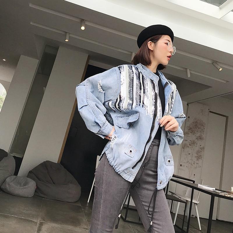 2018 Sauvage Trou Blue Paillettes Vestes Automne Harajuku Femme Femmes Casual Splice Denim Lâche Tops Mode Nouvelle Superaen qx0gI7Awx