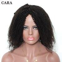 Glueless бразильского не Синтетические волосы на кружеве парик 4B 4C афро кудрявый вьющиеся натуральные волосы парики для Для женщин 130% натураль