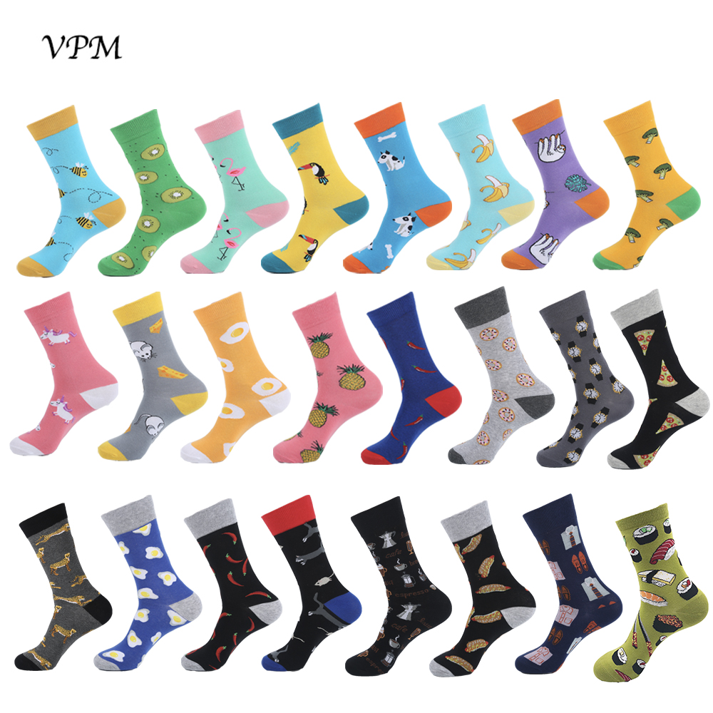 VPM 2019 New Hiphop Cotton Women&Men's Socks Harajuku Happy Funny Cute Bee Crazy Dress Socks  Wedding Christmas Gift