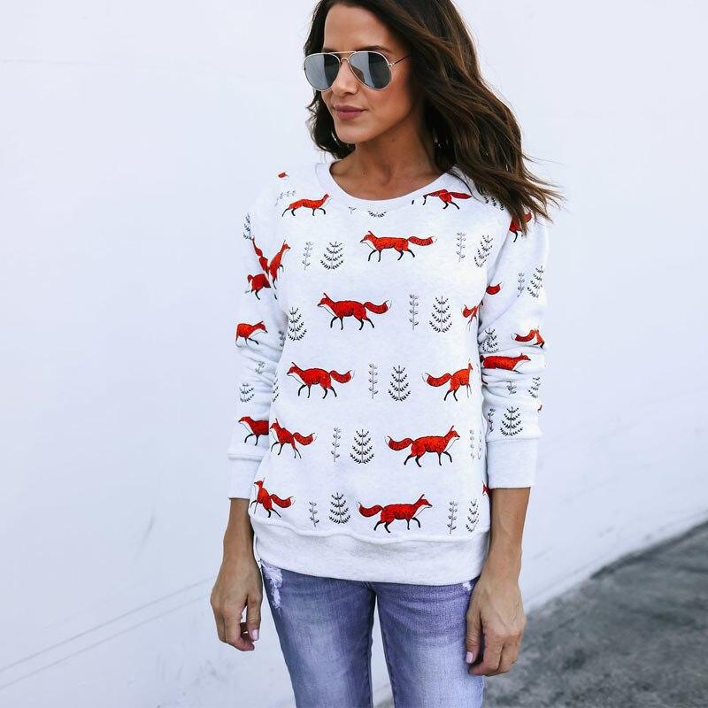 Fashion Women Snowflake Deer/ Fox Print Sweatshirt Jumper Pullover Slim Fit Christmas Tops NFE99