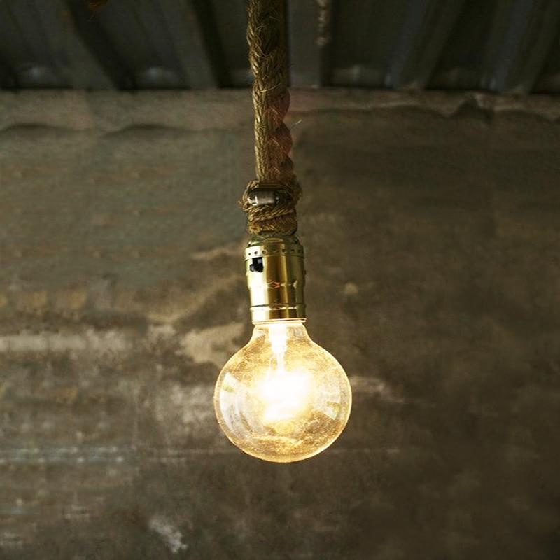 Кулон свет одной головы конопли веревки лампы цоколем E27 светодиодная Лампа Арт проволоки старинные американской промышленности дизайн для бар столовая