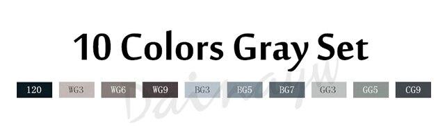 10 colors gray set
