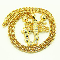 Gold Silver Chain Scorpion Hip Hop Crystal Statement Necklaces Male Chocker Necklace Neckless Maxi Collier Femme