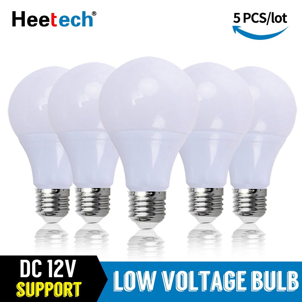5pcs/lot DC 12V LED Bulb E27 Lamps 3W 5W 7W 9W 12W 15W Bombilla For Solar Led Light Bulbs 12 Volts Low Voltages Lamp Lighting