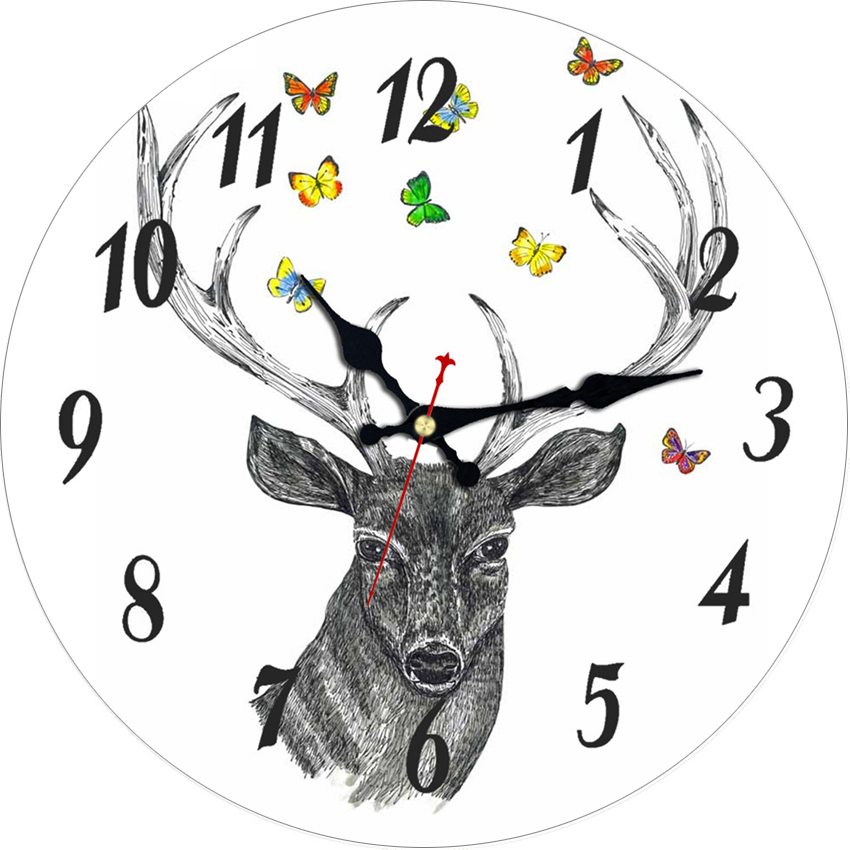 4 Patterns Wall Clocks Deer Design Silent Living Study Office Clock Kitchen Home Decor Watches Large No Ticking Sound