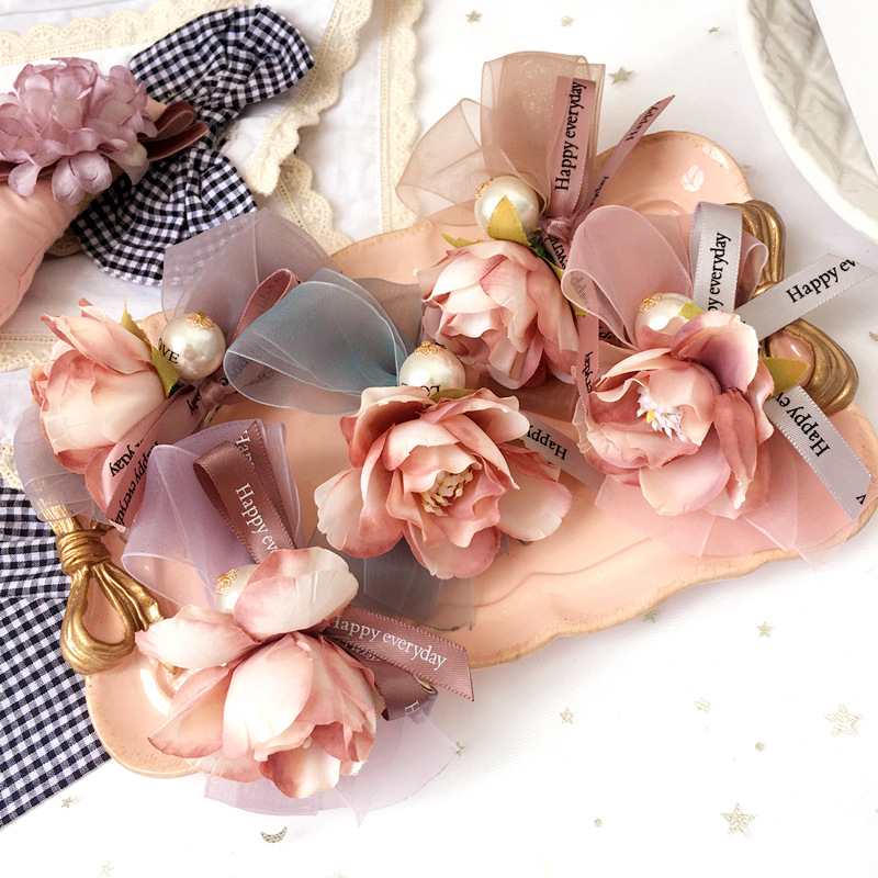 Handmade Flower Hair Accessories For Girls Pearl Yarn Weaving Hairpin Hair Bows Pink Rim ...