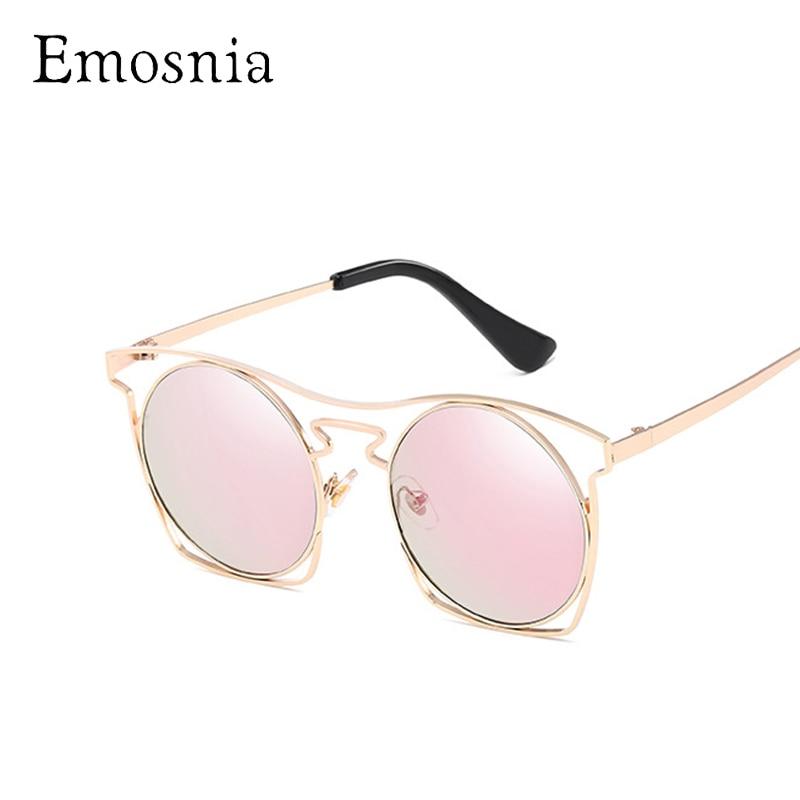 Emosnia Hollow Fashion Cateye Sunglasses Women Round Mirror Design Top Brand Vintage Sunglass Metal Unique Oculos De Sol Uv400