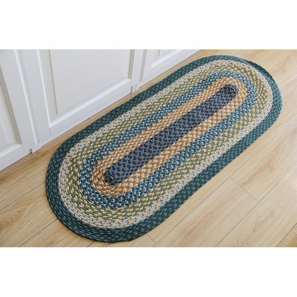 100% coton fait à la main tissage ovale/rond tapis et tapis lavable en Machine absorbant antidérapant pour salon chambre tapis Runner