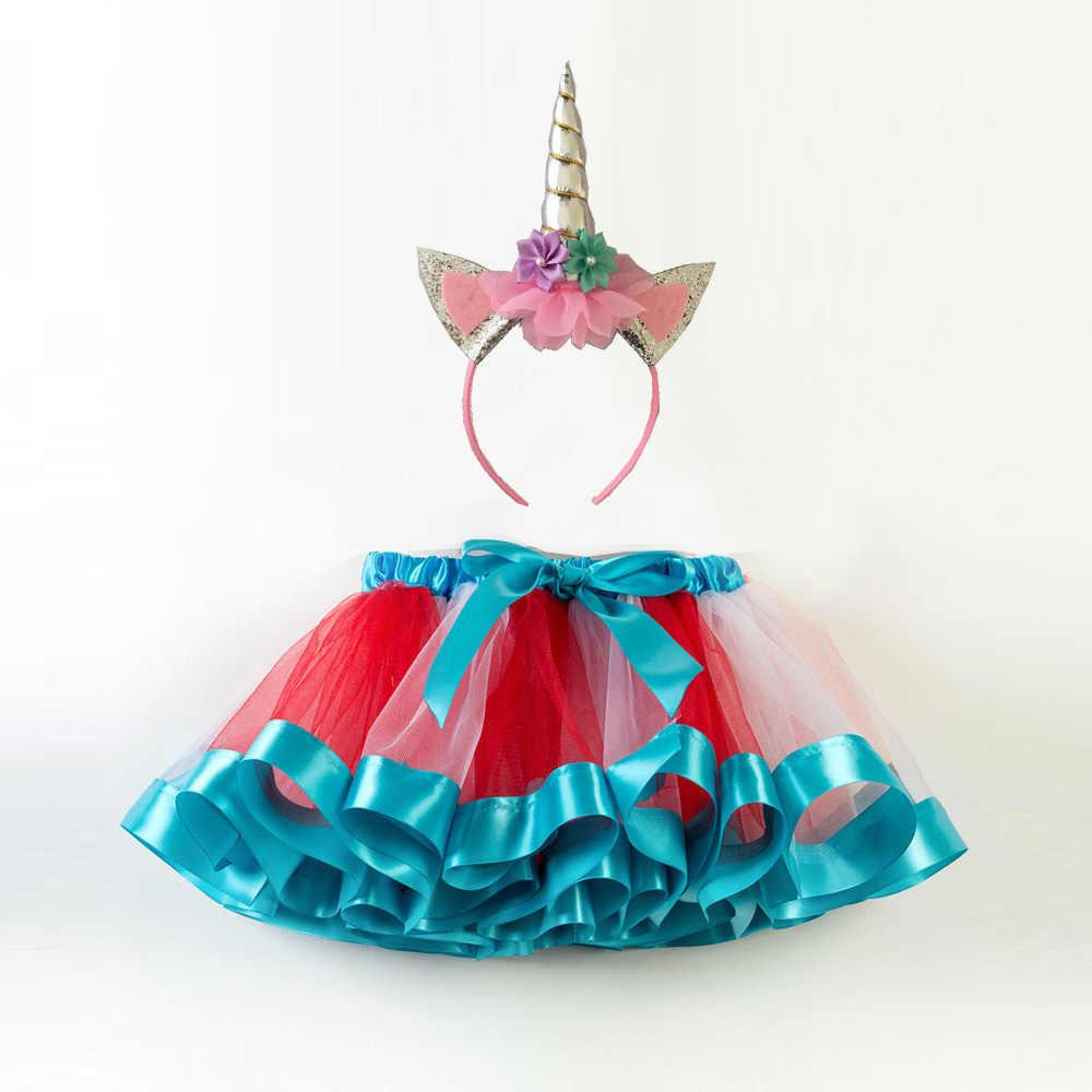 Moda dulce niño niños niñas ropa tutú falda trajes verano lindo niños tul falda + diadema Arco Iris falda