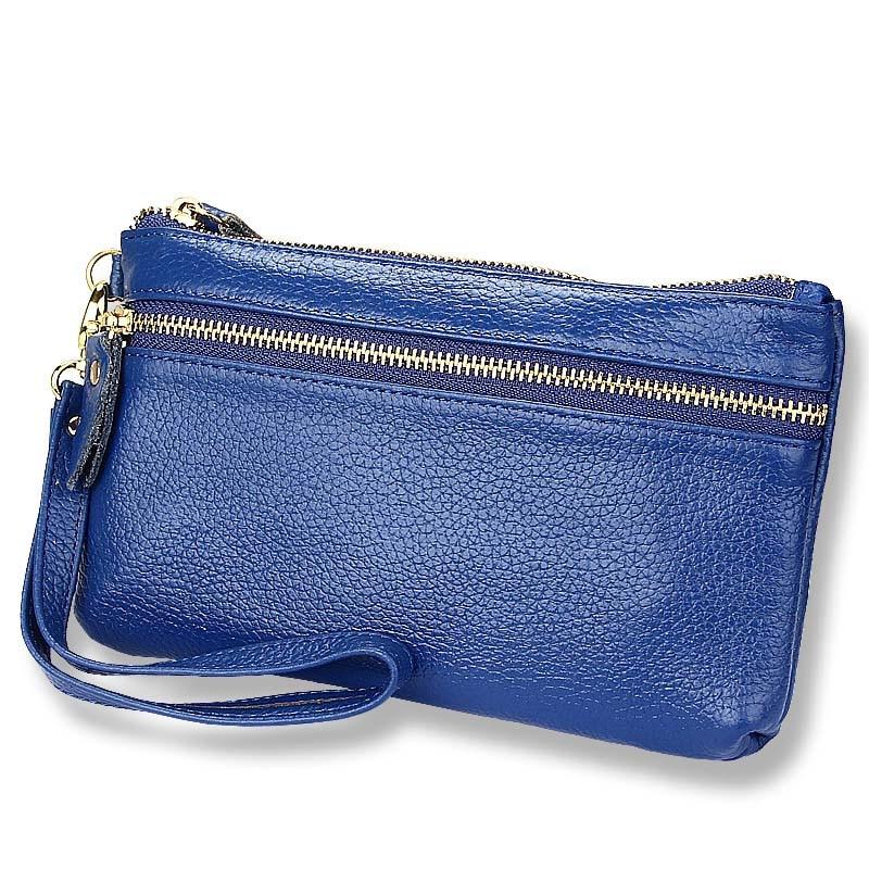 패션 여성 캐주얼 클러치 백 정품 암소 가죽 팔목 지갑 숙녀 동전 지갑 포켓 소프트 지퍼 키 케이스 선물