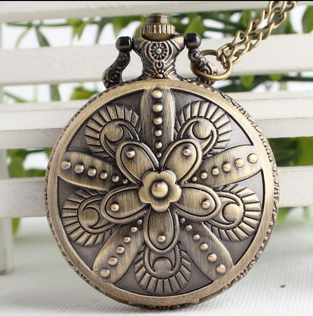 Vintage Bronze Antiques 5 Flowers Classic Good Quality Steampunk Woman And Men Pocket Watches And Fob Chain Gift