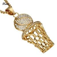 Necklaces Pendants Titanium Steel Basketball Net Pendant Sports Wind Jewelry Colar Homem