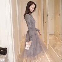2018 new autumn winter coarse wool sweater splicing net yarn dress, retro thick sweater black pullover cotton woman clothing