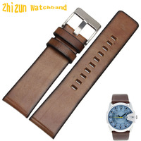 High Quality Retro Brown Genuine Leather Watchband Strap Bracelets 24mm For DZ7259 7256 7265 WATCH Accessories