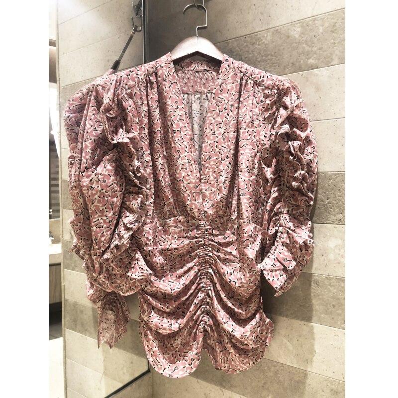 2019 summer wrinkled silk print V neck ruffled silk shirt blouse Women s Comfort material High