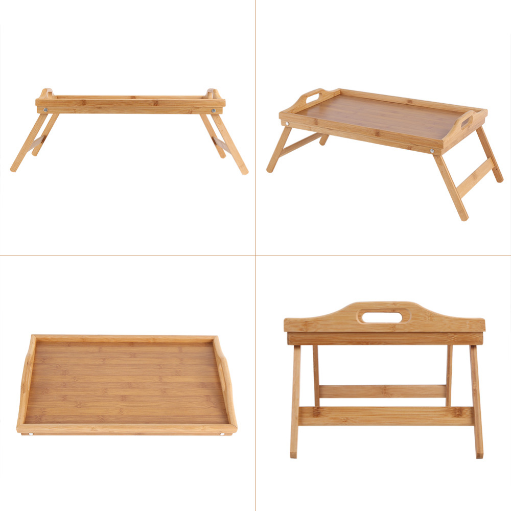 Hot Sale Portable Bamboo Wood Bed Tray Useful Breakfast Laptop Desk Tea Food Sofa Bed Tray Picnic Studying Table Wholesale