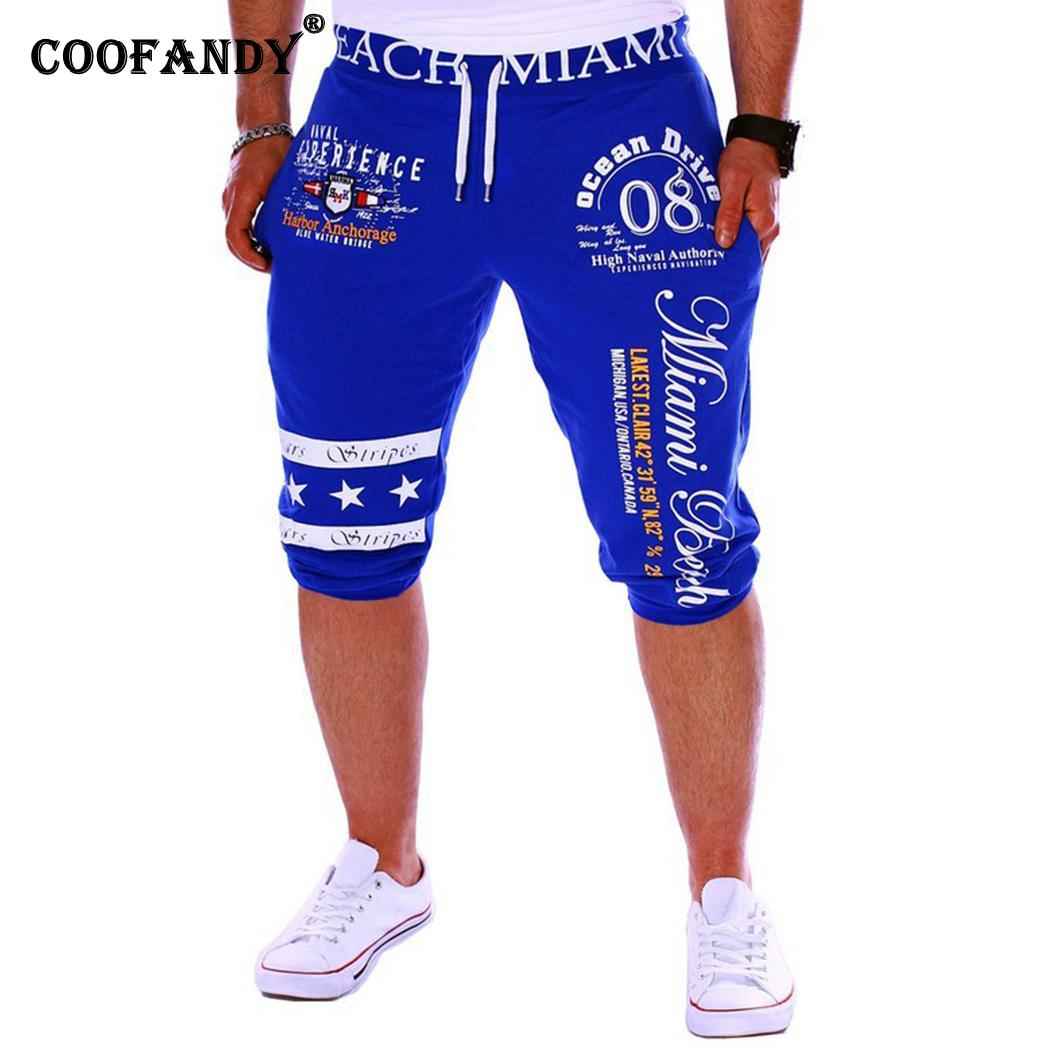 Men Casual Elastic Letter Drawstring Medium Waist Blue, Black, Gray, White Calf-Length Summer Pants(China)