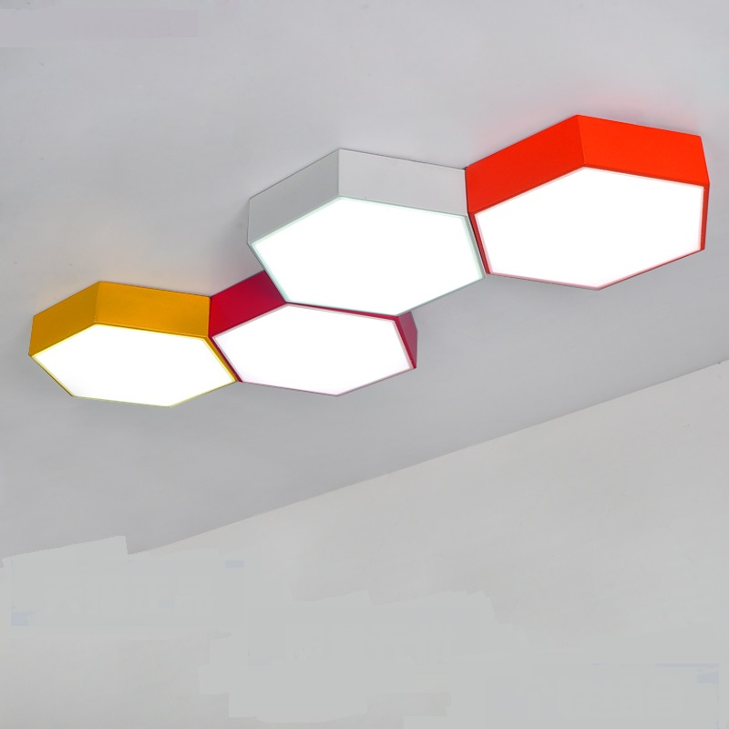 honeycomb one kindergarten ceiling lamps Children lamp Multi-color creative LED clothing store office ceiling lights ZA