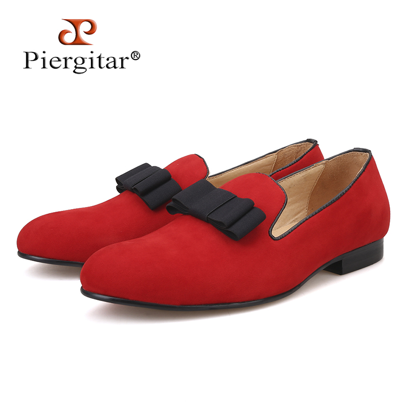 PIERGITAR New Men Velvet Shoes with bowknot RED OR BLACK COLOR men's flats men loafers for free shipping piergitar new men velvet shoes with bowknot red or black color men s flats men loafers for free shipping