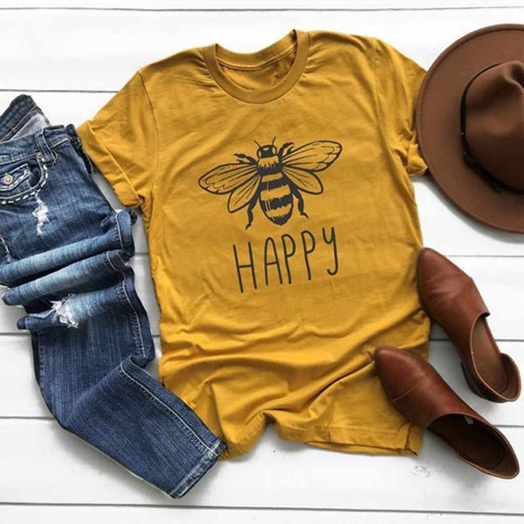 Amarelo T-Shirt Harajuku shirt Women Causal T-shirt de Algodão Em Torno Do Pescoço de Impressão Abelha Do Vintage Gráfico Plus Size Mulher Roupas Unissex #2