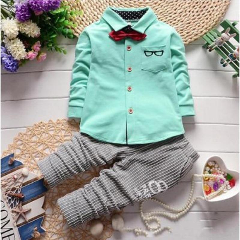Fashion Baby Dress Coat and Plants Set Kids Clothes Boys Clothing Long Sleeve