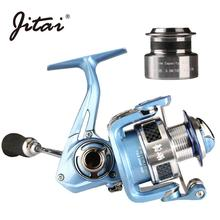JITAI 12+1BB Spinning Reels For Fishing With Free Aluminum Spare Spool 2 Metal Wheel Wire Cups Coils Saltwater