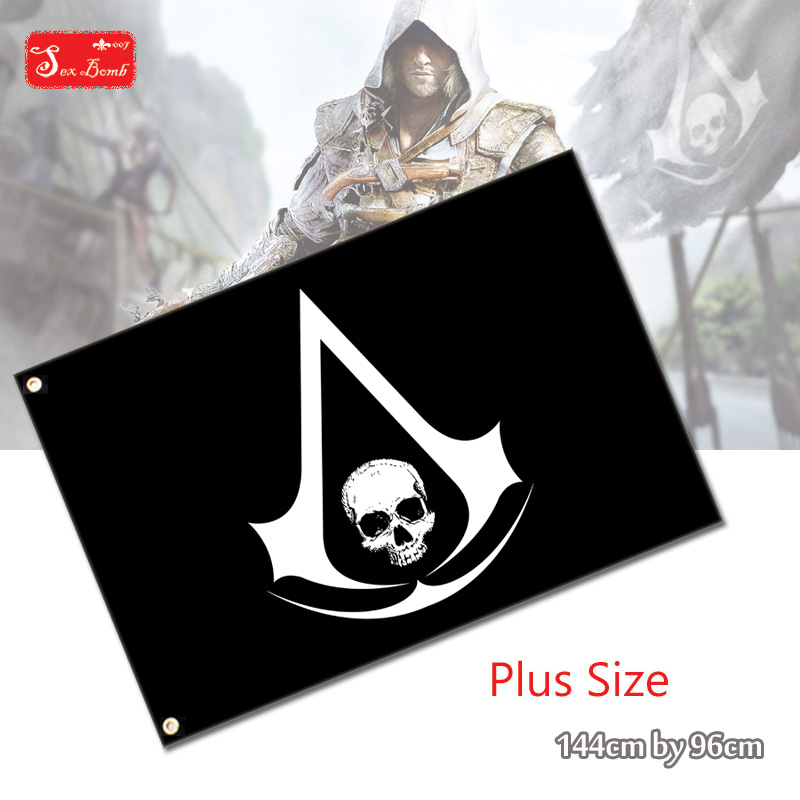 Plus la taille Black Flag Edward Kenway de Assassins Creed 4 IV logo Polyester Drapeau pour Cosplay Pirate Jolly Roger drapeau jouet 144x96 cm