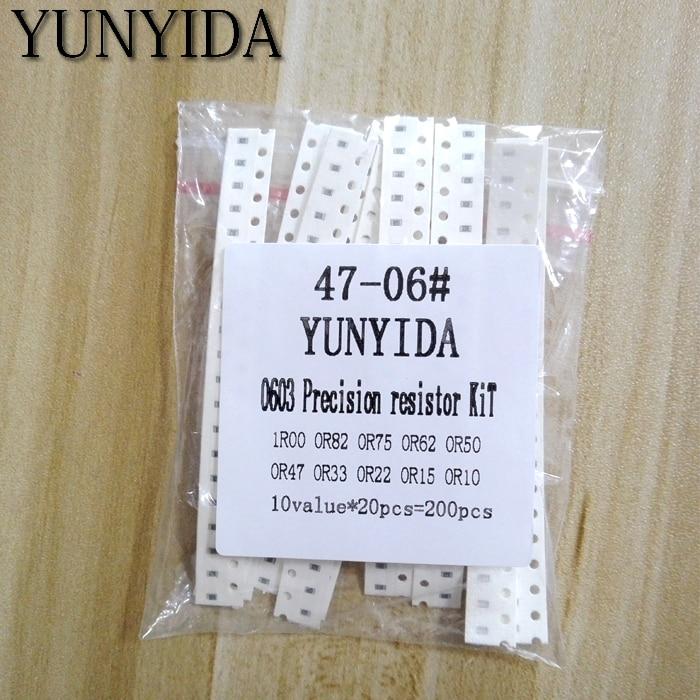 200PCS  1%  0603 SMD Resistors Assorted DIY Kit Set ,10 ValueX20pcs=200pcs 1R00 R820 R750 R620 R500 R470 R330 R220 R150 R100