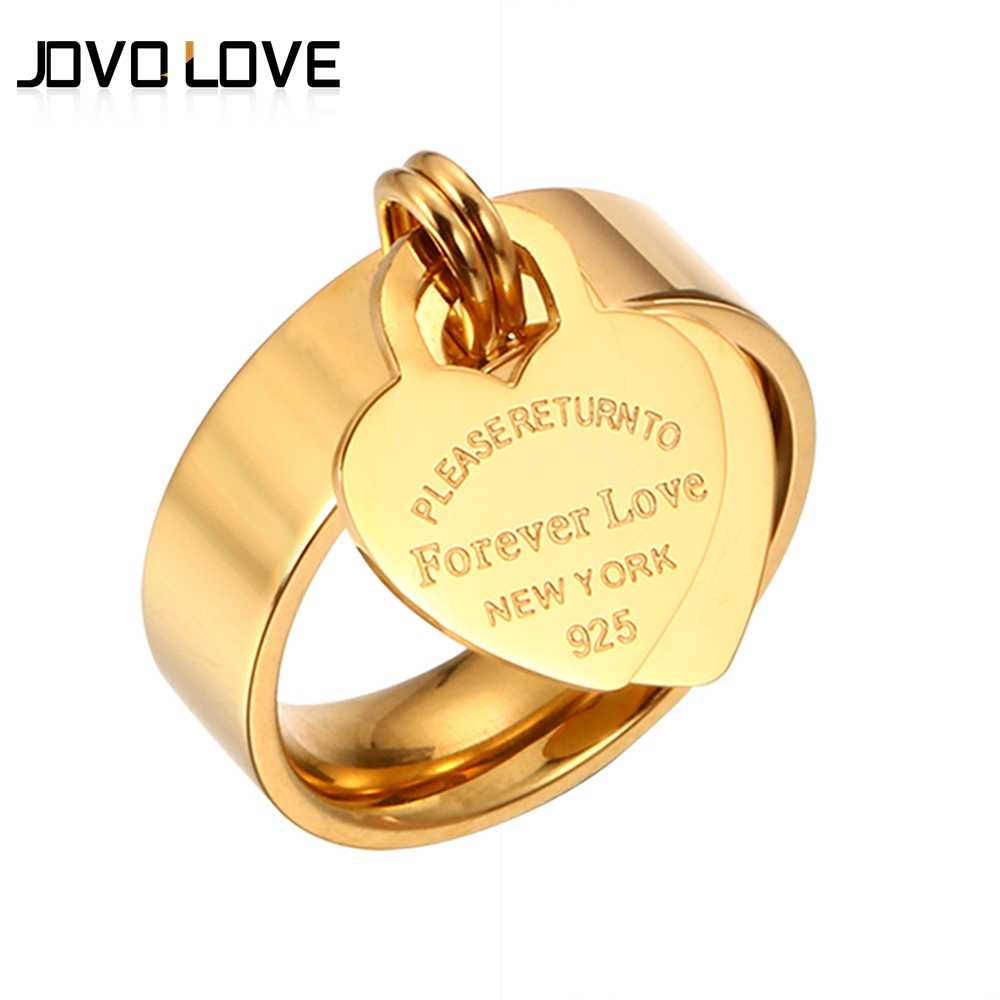 Forever Lover's Heart Rings Stainless Steel Engraved Ring Rose Gold Charm Pendant Finger Rings for Women Wedding Brand Jewellery