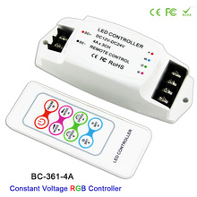 DC12V-24V,BC-361-4A,with RF remote Wireless Constant Voltage RGB 3CH Strip Controller For 5050 3528 RGB led strip light tape bc 100 dc9v led rgb controller dmx512 signal 170 pixels light controller lcd display rf wireless remote for led strip moudle