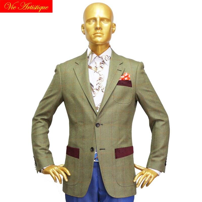Custom Tailor Made Men's Bespoke Suits Business Formal Wedding Ware Bespoke Jacket Coat Tweed Wool Slim Fit Olive Window Plaid
