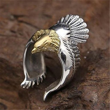 Retro Eagle Wings Open Ring For Men Ring Fashion Party Jewelry1 Pcs Gold Silver Color Retro Eagle Wings Ring Women Accessories s925 pure silver vintage ring men s personality gold wings patron saint silver ring