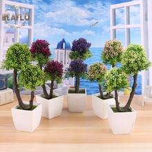 1PC Rural Plastic Mini Tree Potted Plant Set Artificial Flowers Bonsai flowerpot Home Decorative 5 Colors
