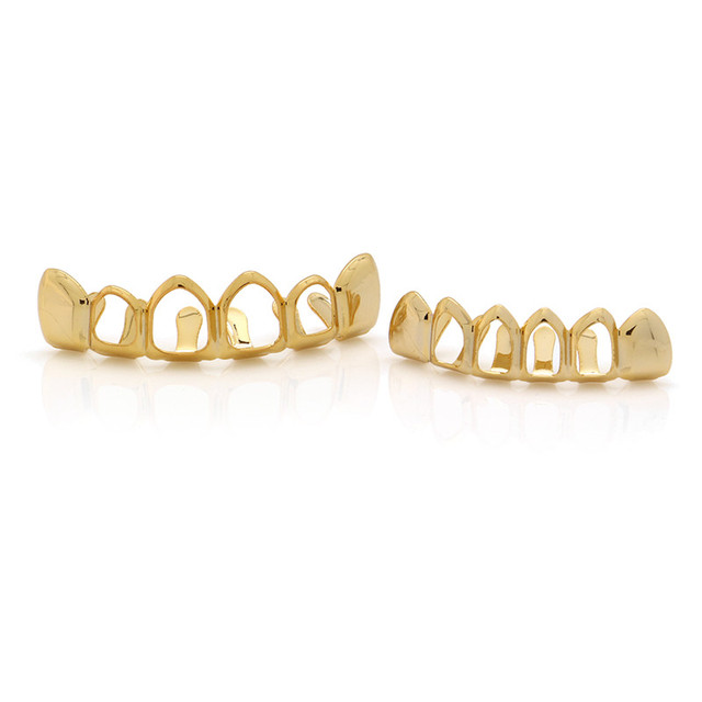 LuReen Teeth GrillsTop & Bottom Hollow Out Gold Tooth Grills Dental Cosplay Vampire Teeth Caps Mouth Jewelry Party