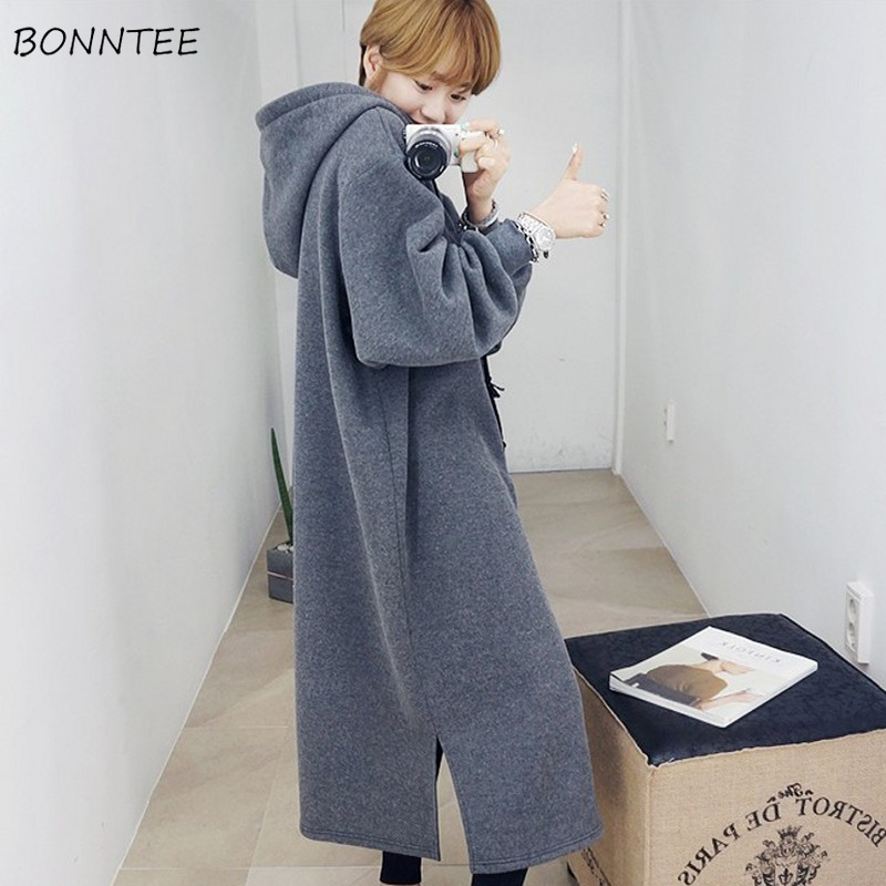 Hoodies Women Winter Loose Elegant Large Size Ulzzang Thicken Solid Students Lovely Womens Korean Style Soft Sweatshirts Ladies