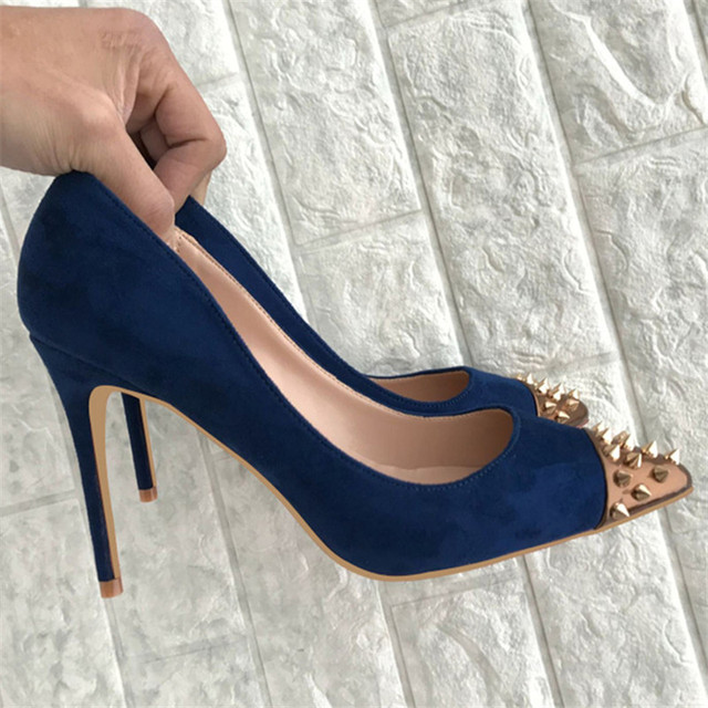 906fa01d3af Navy Blue Stiletto High Heels Shoes Woman Plus Size 44 Pointed Toe Zapatos  Mujer Rivets Suede Leather Pumps Wedding Scarpin