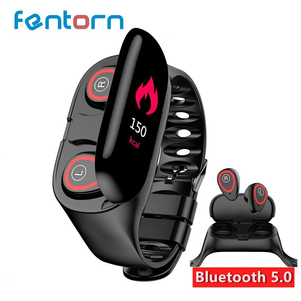 Fentorn M1 Newest Heart Rate Monitor Women Smart Watch Men With Bluetooth Earphone Fitness Tracker Blood Pressure Smartwatch IOS bone para bordar
