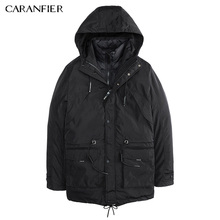 CARANFIER Men Winter Casual Parka Liner Detachable Solid Thick Jacket Warm Windproof Male Slim Soft Two Way Outerwear  M~3XL