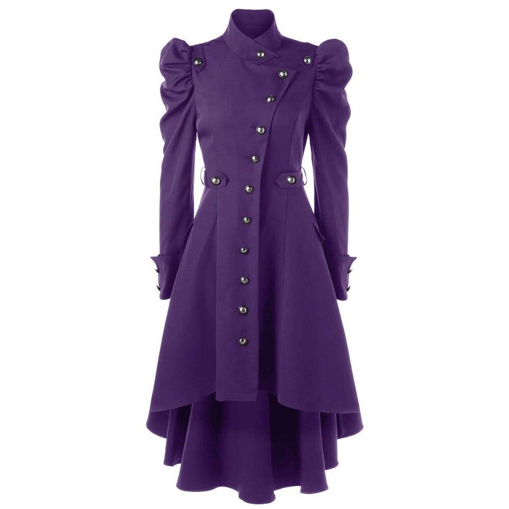 Women Gothic Coat Autumn Winter Long Trench Black Windbreaker Coats Classic Shrug Purple Asymmetry European Vintage Overcoat