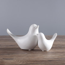 Nordic Simple Matt White/Black Ceramic Bird Figure Cute Figurines for Home Decoration Accessories Party Crafts Wedding Ornaments(China)