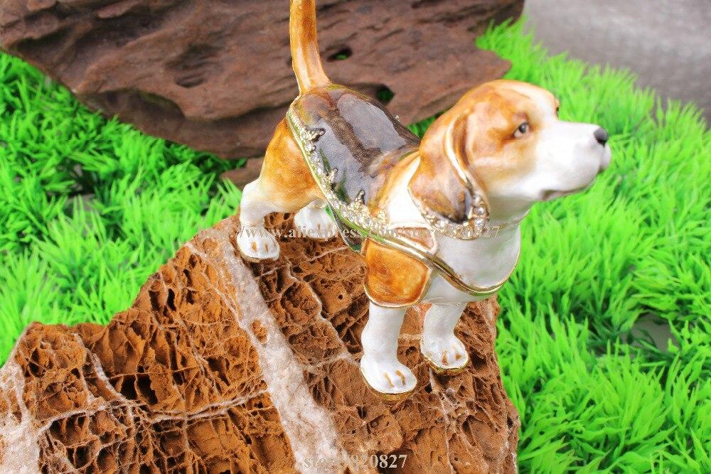 dog puppy Jeweled Hinged Trinket Box Dog gifts animal trinket box metal keepsake box rhinestone bejeweled jewelry box