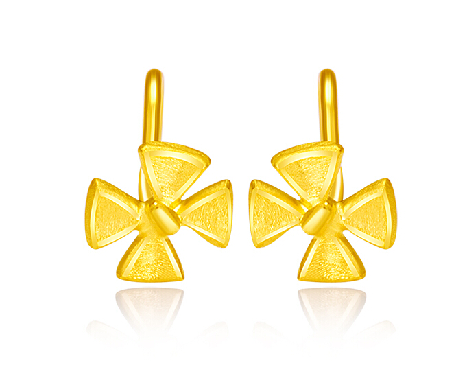 Authentic Solid 999 24K Yellow Gold Flower Earrings 1.81g