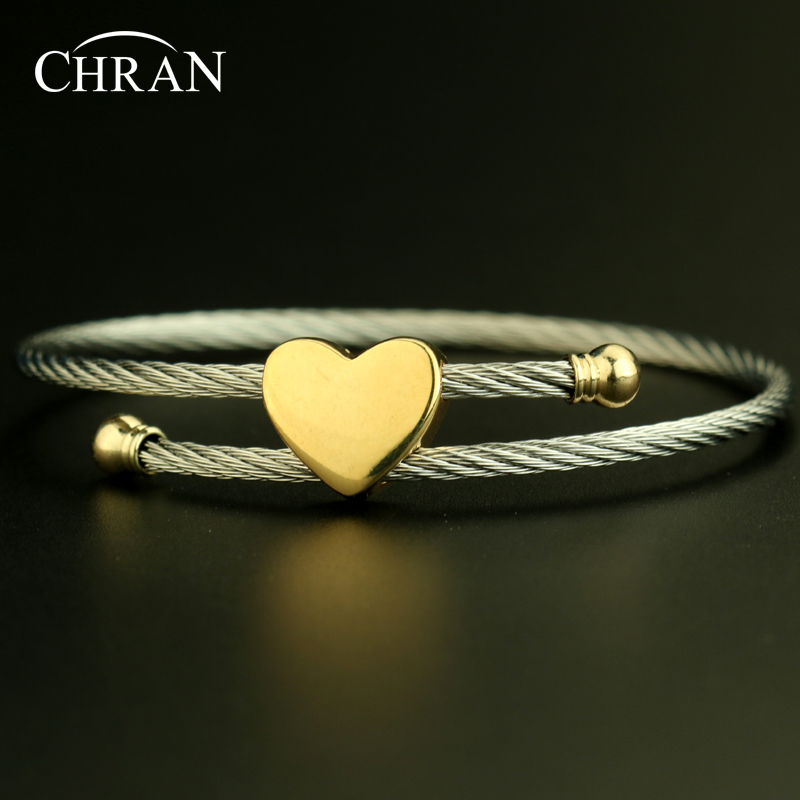 Lovely Designer Christmas Gifts Silver Plated Heart Shape Brand Jewelry Charm Stainless Steel Bracelets For Womem