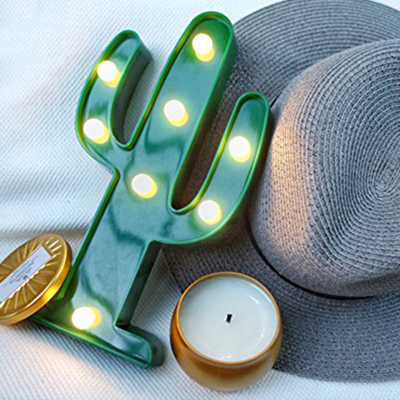 Cute Cactus Light Romantic 3D Lamp LED Baby Night Light Romantic Dim Mood Lamp 2AA Battery Operated Child's Room Deration (2)