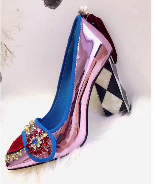 Tacones Cuero Cuadros Chunky Bombas Primavera Oro De Mujeres Zapatos Remaches Cristal Sexy as A Amor Perla Pic Pic Plata As Rojo Púrpura InB8wqF