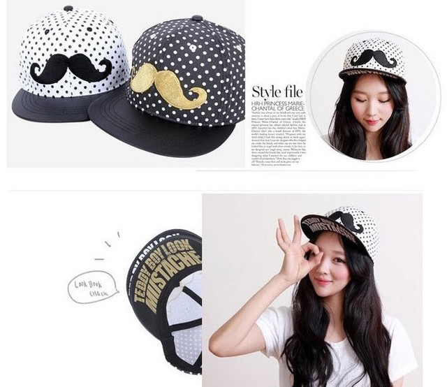 New!Short brim Dot mustache unisex baseball caps men women fashion casual cap summer hat dropshiping