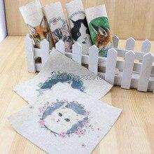 Mão tingido 6 Assorted Cotton Linen Impresso Quilt Tecido Para diy costura patchwork home textile decor 15×15 cm grinalda gatos & cães