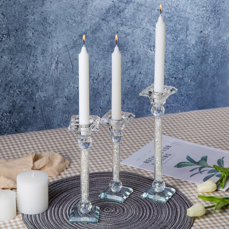 Nowoczesne akcenty elegancki kryształ dekoracja do domu blat szklana naklejka świeczniki para w Świeczniki od Dom i ogród na  Grupa 2
