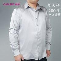 Мужские тяжелый шелк 98% рубашка с длинными рукавами Свободная шелковая рубашка Цвет увеличить 19 момме большие размеры 5XL 6XL