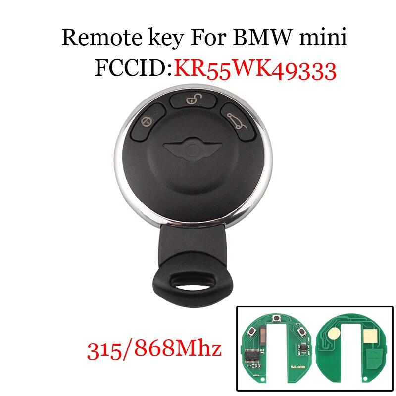 315Mhz/868Mhz For BMW Mini Cooper Smart KR55WK49333 Remote Control Car Key For BMW Mini Cooper 2007-2014 Keyless Entry Key Fob накладка под левую ногу mini 51477149471 для mini cooper 2015